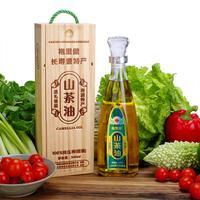 长寿之乡特产纯物理压榨 袍里健山茶油精装500ml 木盒 健康食用油